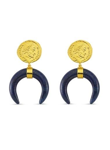 Reian Jewelry Coın Lapıs Lazulı Küpe Altın